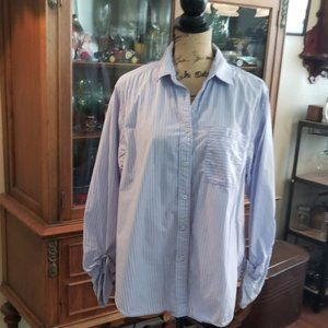 Free PeopleBlue and white striped button down sz S